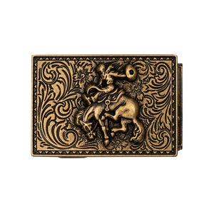 Mission Belt Buckle with a cowboy riding a horse