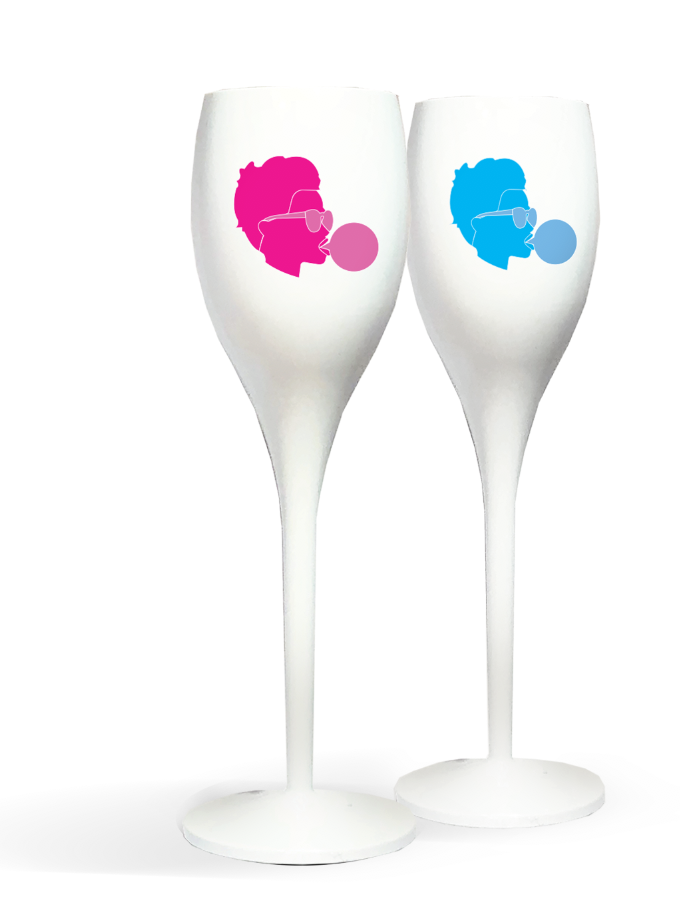 SET OF 2 CHAMPAGNE FLUTES  - WHITE BUBBLE GUM