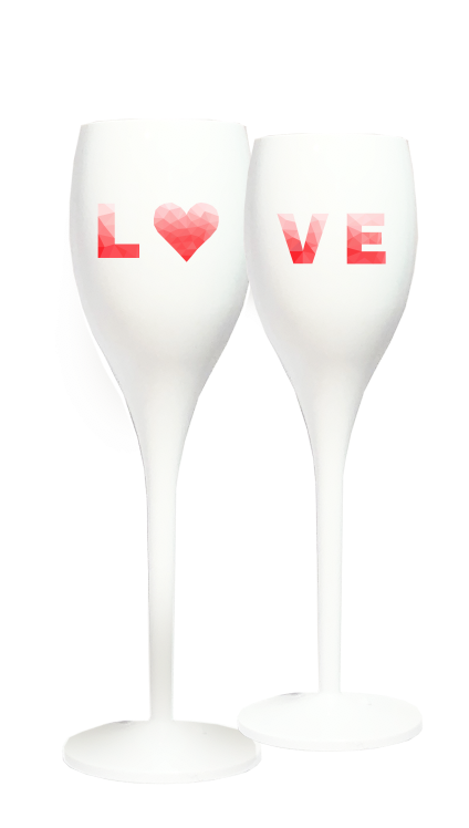 SET OF 2 CHAMPAGNE FLUTES - WHITE LOVE