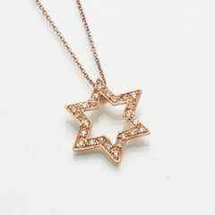 Rose gold Diamond Star of David Necklace