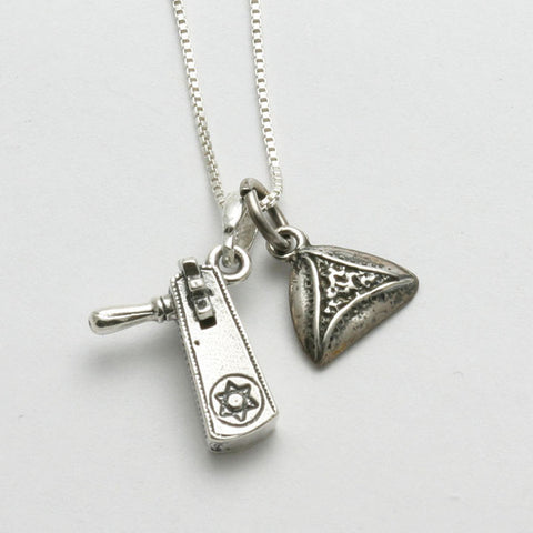 Grogger and Hamantashen charm necklace in silver
