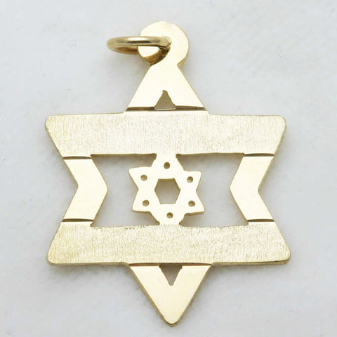 14k Yellow Gold Jewish Star of David Israeli Flag Pendant Large