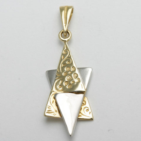 white and yellow gold Start of David pendant with flower pattern motif