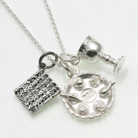 Seder plate, matzah and kiddush/Elijah's cup charm necklace in silver