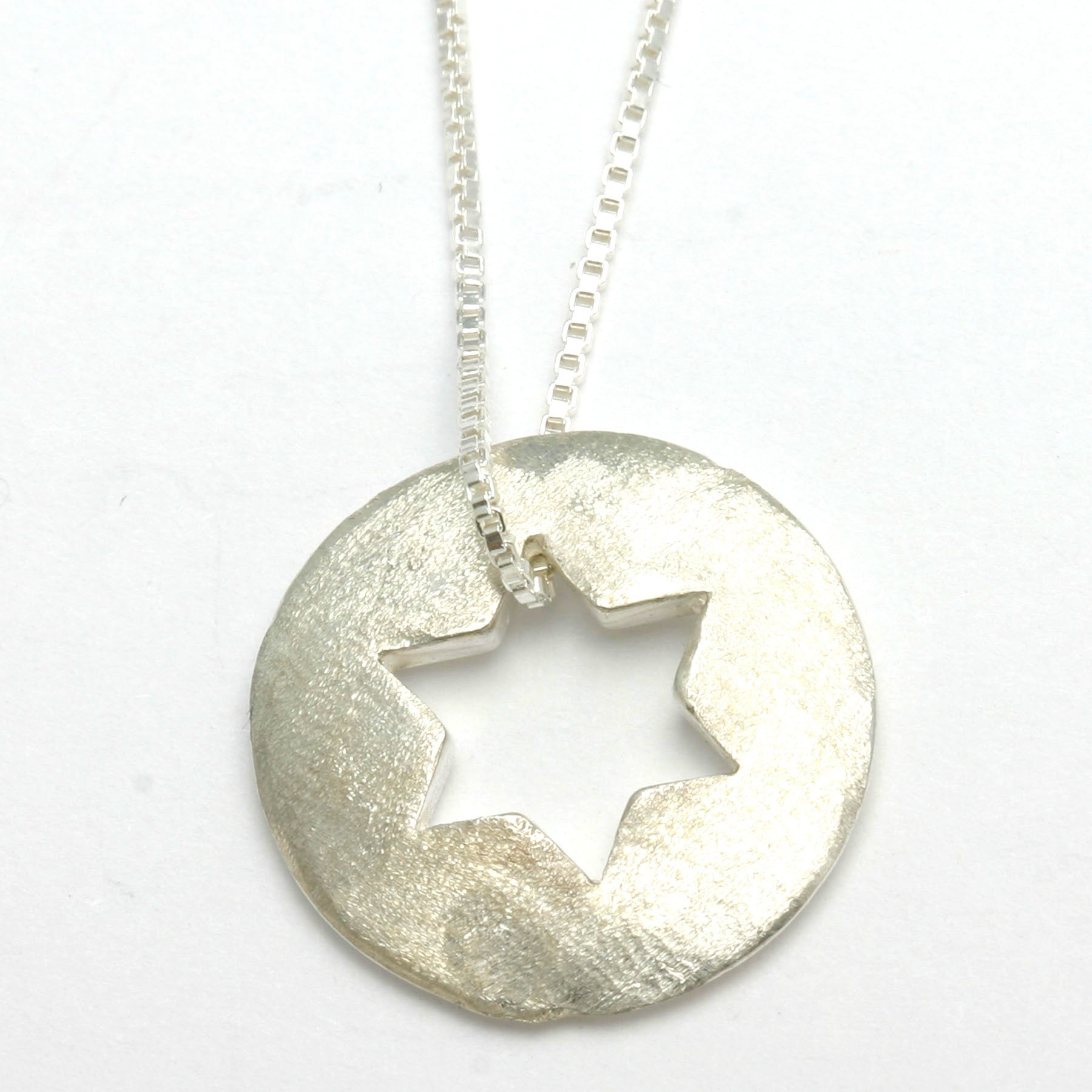 Sterling silver star of david pendant disk matte and polish sterling silver star of david pendant disk matte and polish jewelryjudaica aloadofball Image collections