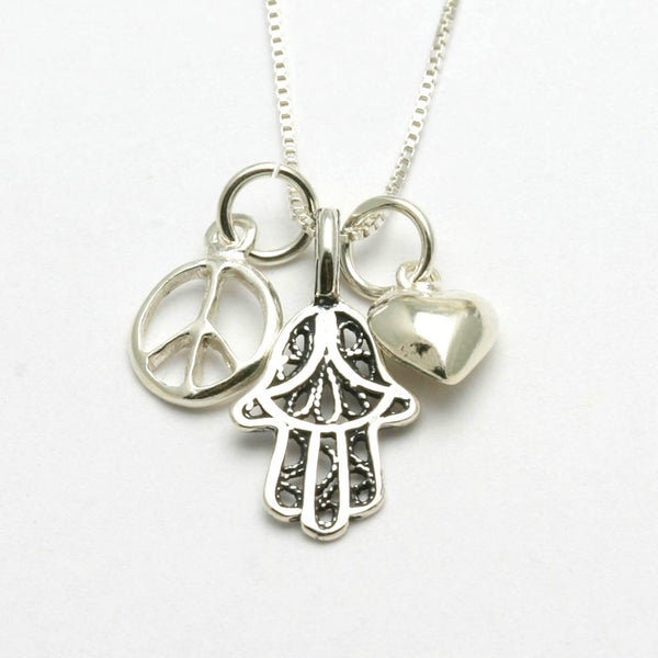 sterling silver hamsa heart peace sign charm necklace
