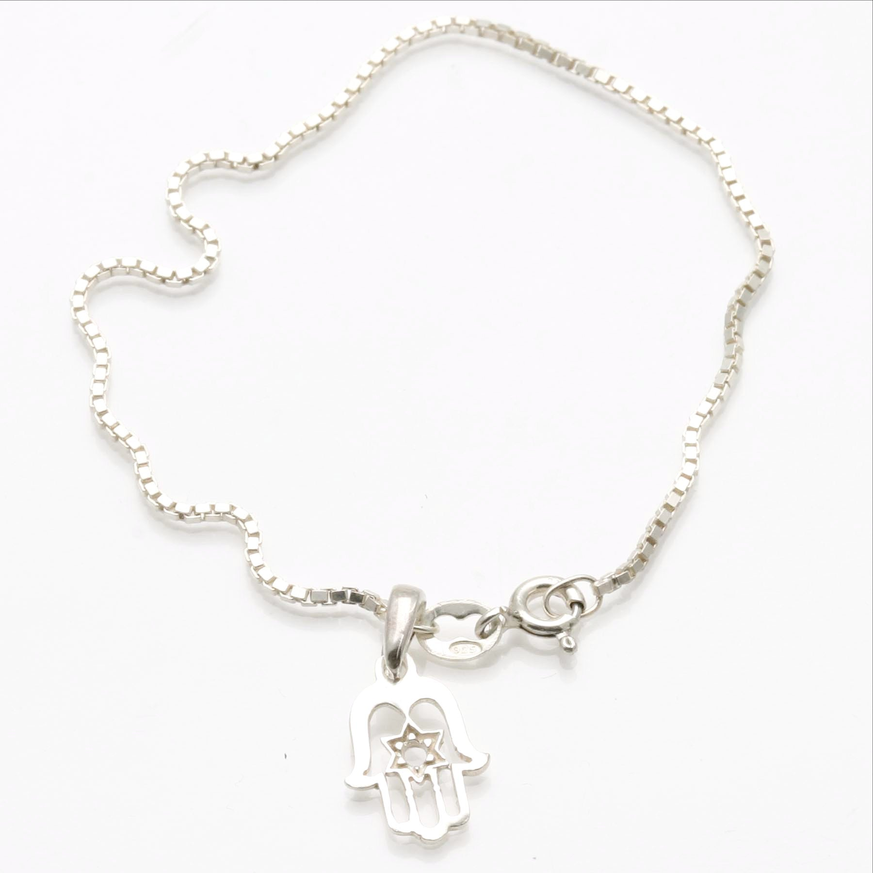 925 Solid Sterling Silver Jewish Star with Hamsa Pendant Bracelet Star of David Charm for Necklace