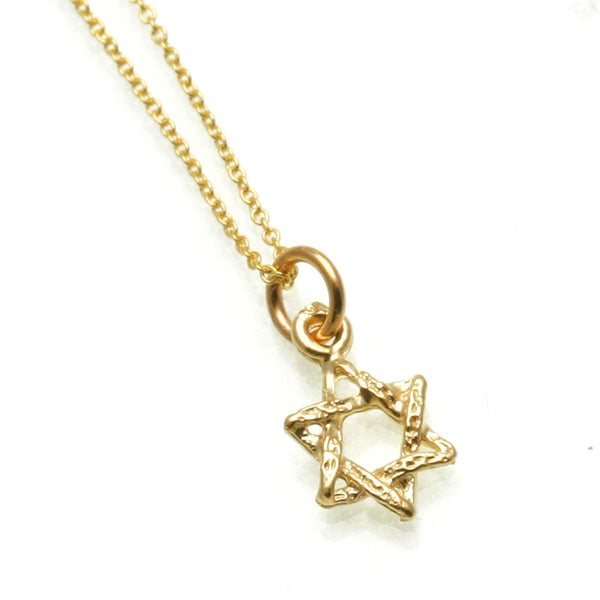 FB Jewels 14K Yellow Gold Star Of David with Engraved Swirls Jewish Pendant