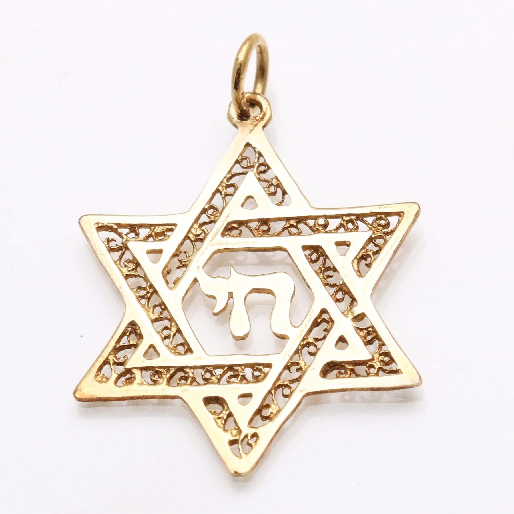 pendant pendants gold ladies lg solid yellow chai jewish