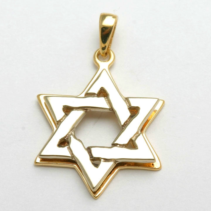 14k yellow white gold star of david pendant solid jewelryjudaica aloadofball Image collections