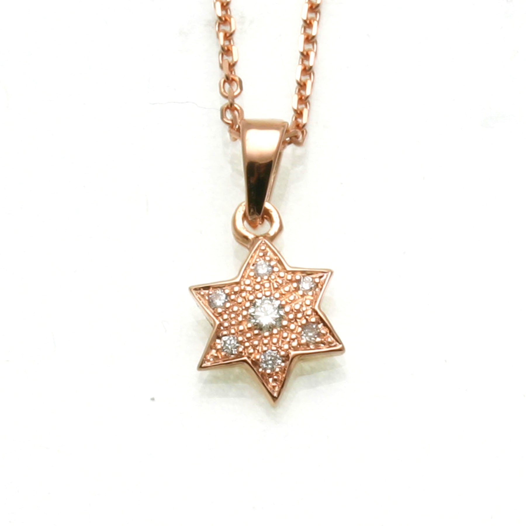 Star of david jewish jewelry jewelryjudaica 14k rose gold diamond star of david pendant small pave necklace jewelryjudaica buycottarizona Image collections