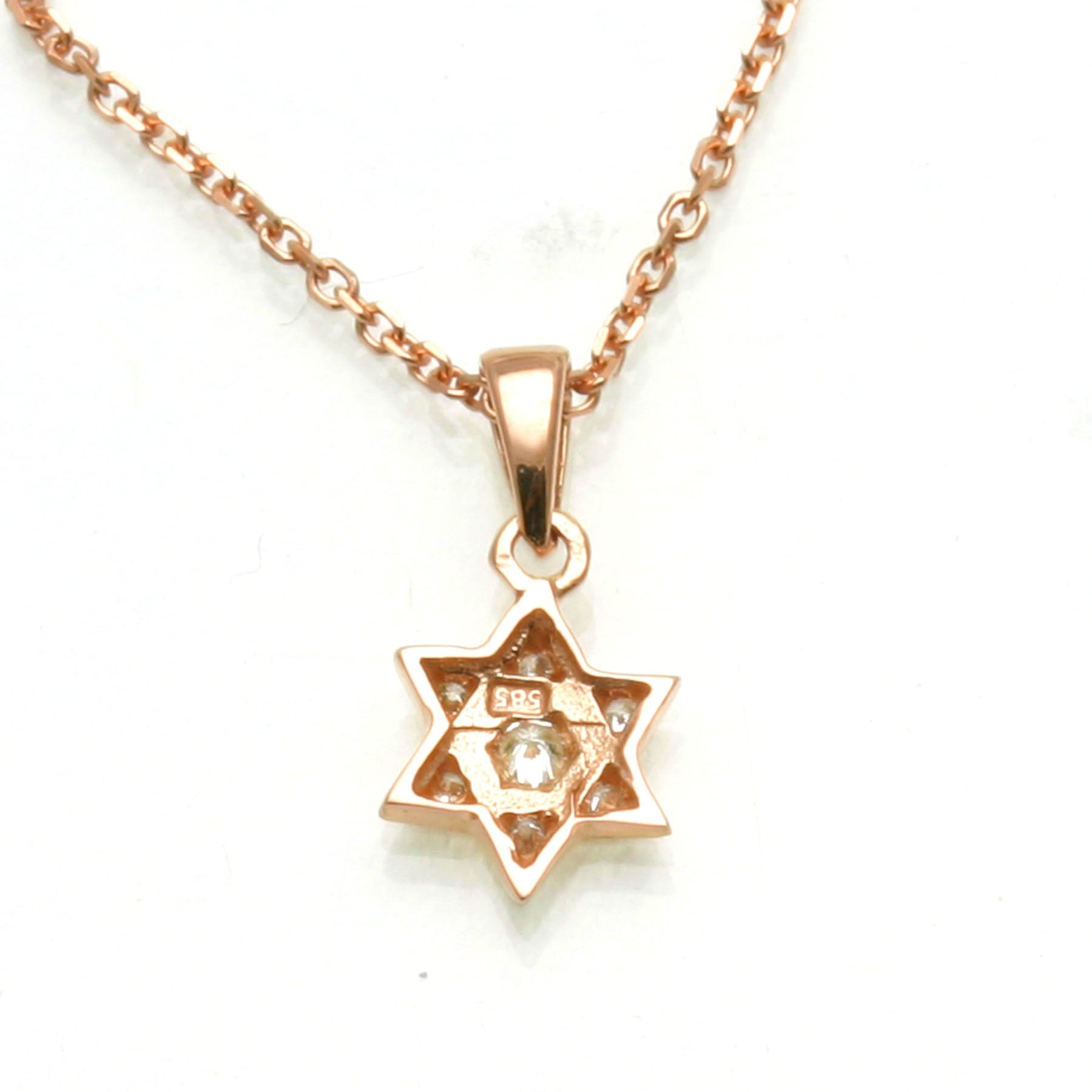 14K Yellow Gold /& Rose Gold Jewish Star of David with Menorah Pendant Necklace