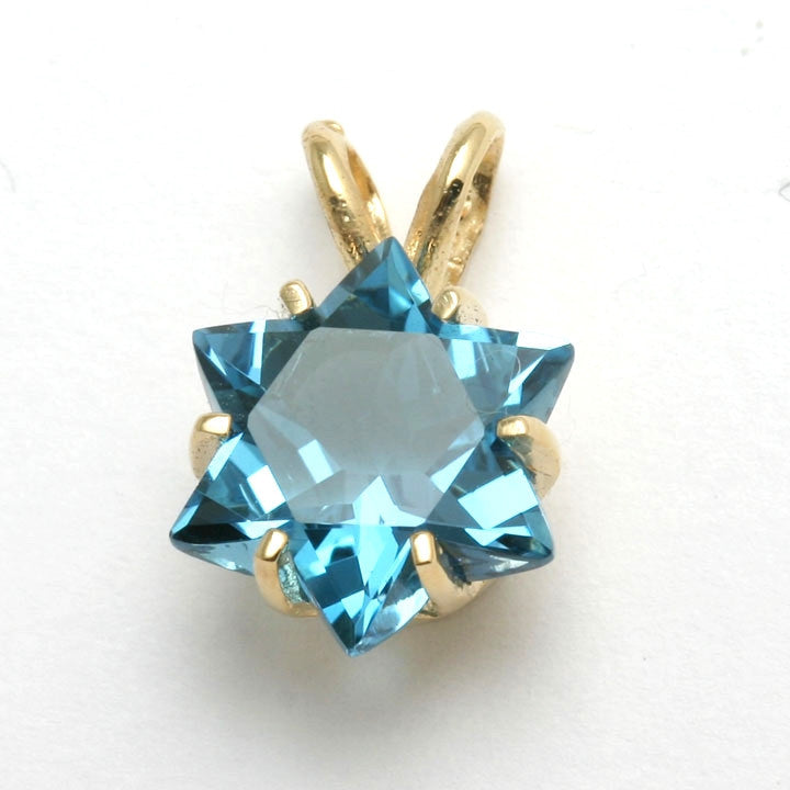 14k yellow gold blue topaz star of david pendant 4 carat 14k yellow gold blue topaz star of david pendant 4 carat jewelryjudaica aloadofball Gallery