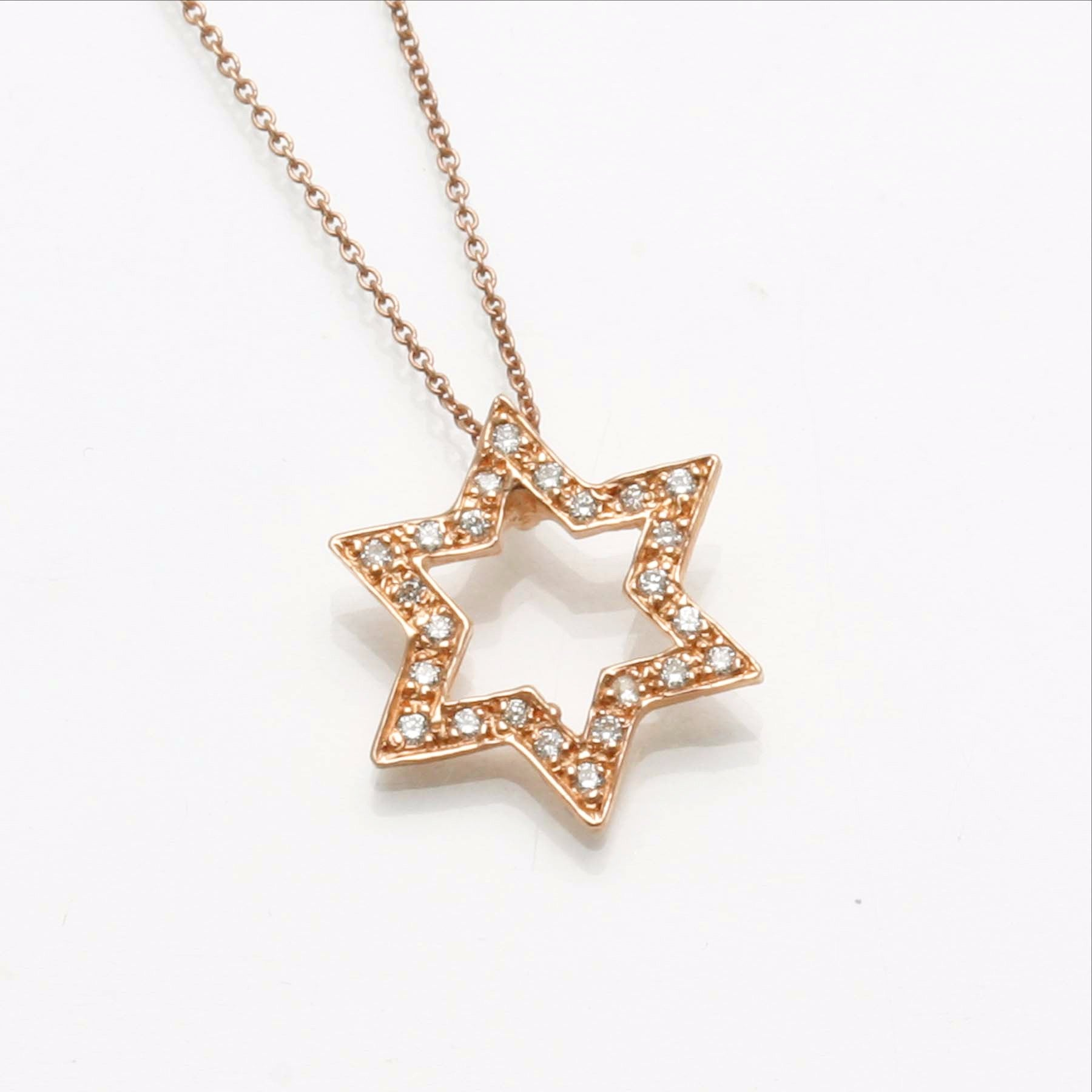 14k Rose gold Diamond Floating Star of David Pave Necklace