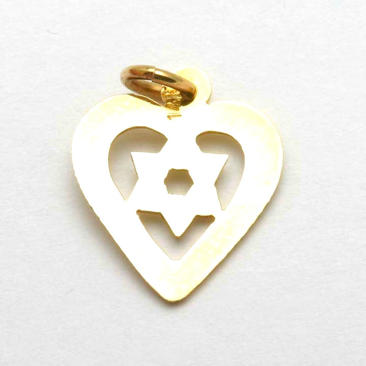 14k Yellow Gold Polished Star of David in Heart Pendant
