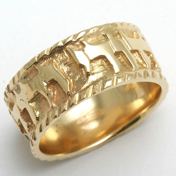 14k yellow gold ani le dodi jewish wedding band ring ridge jewelryjudaica - Jewish Wedding Ring