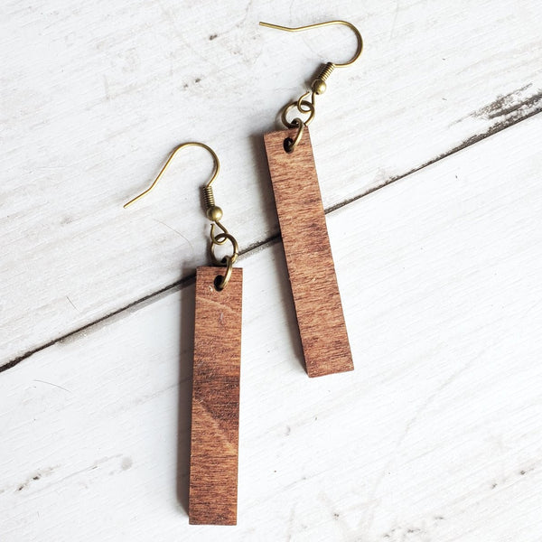 Jo Rectangle Wood Earrings