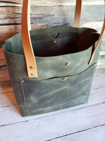 """The Tote"" Leather Handbag in Dark Olive"