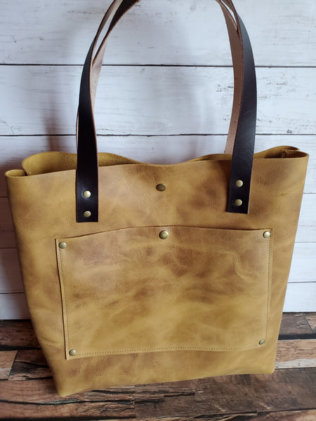 """The Tote"" Leather Handbag in Mustard"