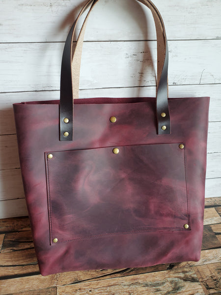 """The Tote"" Leather Handbag in Merlot"