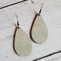 Small Teardrop Earrings Ghost Leather