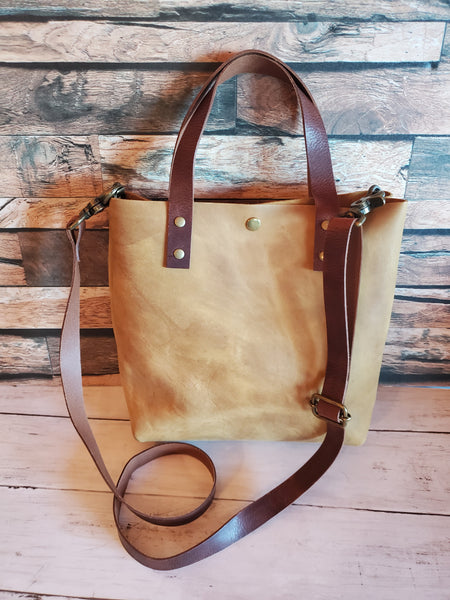 Shorty Tote Leather Handbag in Mustard