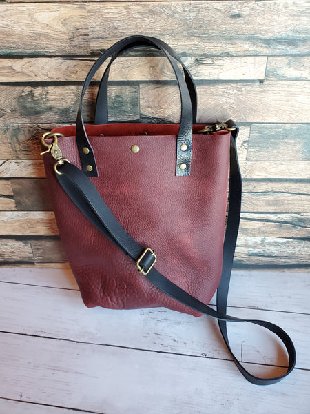 "MINI ""The Tote"" Leather Handbag in Crimson"
