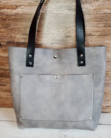 """The Tote"" Leather Handbag in Light Gray"