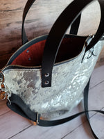 The Midwestern Tote - Silver Acid Wash + Crimson Red