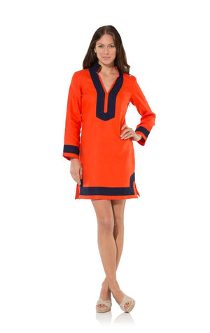 The Classic Red Long Sleeve Linen Tunic Dress