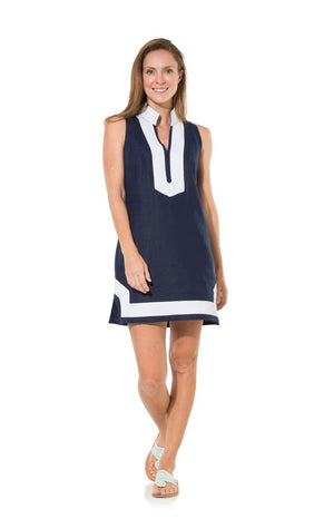 The Classic Navy Sleeveless Linen Tunic Dress