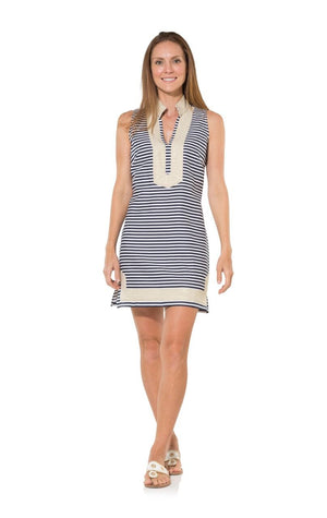 The Classic Stripe Sleeveless Linen Tunic Dress