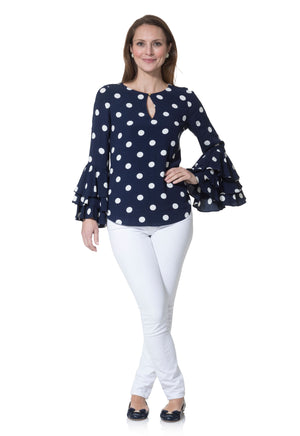 Dot Ruffle Sleeve Blouse