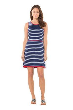 Navy/Red Free in the Fit in Flare Sweater Dress