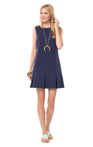 Dotted Up In Boxpleat Navy Dress