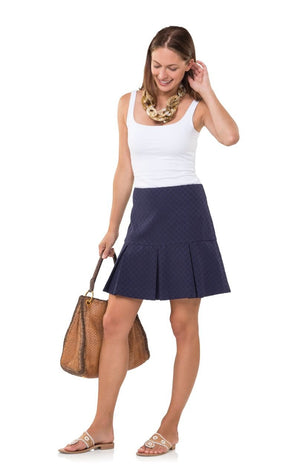 Dotted Up In Boxpleat Navy Skirt