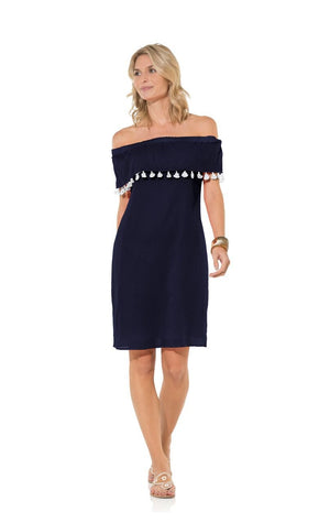 Navy Crinkle Cotton Off Shoulder Tassel Dress