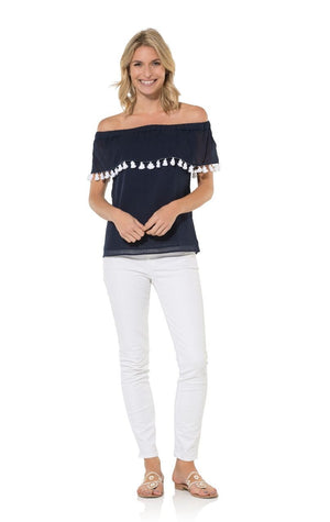 Navy Crinkle Cotton Off Shoulder Tassel Top