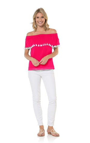 Pink Crinkle Cotton Off Shoulder Tassel Top