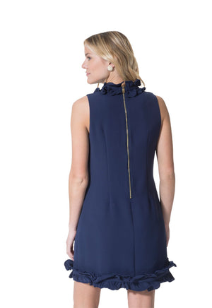 Double Ruffle Sleeveless Dress Navy
