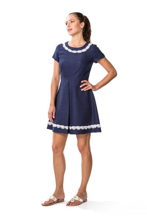 Basket Fit and Flare Navy Dress