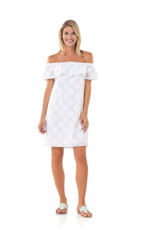 WHITE FRINGE JACQUARD DOT OFF SHOULDER DRESS