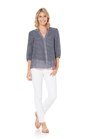 Easy Breezy: Navy Stripe Silk Cotton Blouse