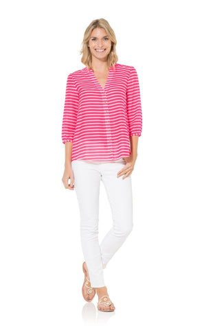 Easy Breezy: Pink Stripe Silk Cotton Blouse