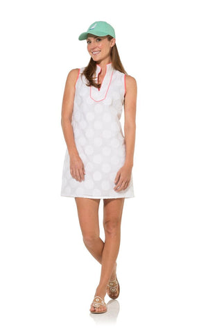We Wear White: White Dot Tunic Shift With Pink Piping