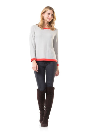 Cozy on Columbus Grey/Coral Sweater