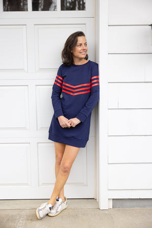 Navy with Red Stripe Sweatshirt Dress