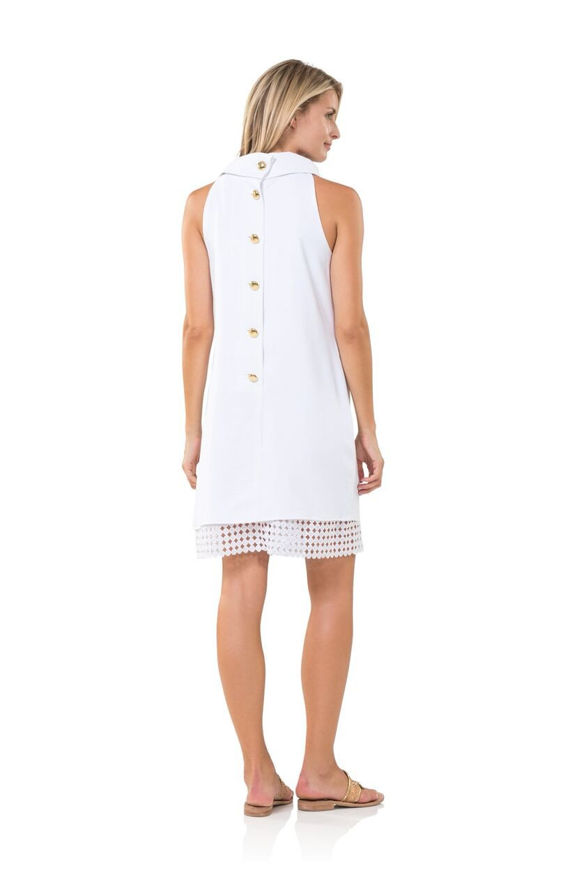 Crazy for Cowl Neck Button Up Back Dress White