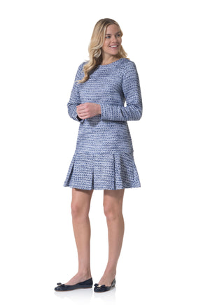 Tweed Long Sleeve Boxpleat Dress