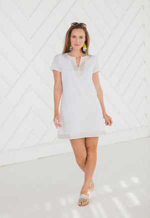 Short Sleeve Gold Trimmed Tunic Dress